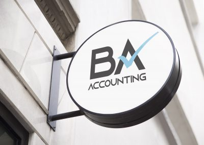 BA Accounting Logo on Sign